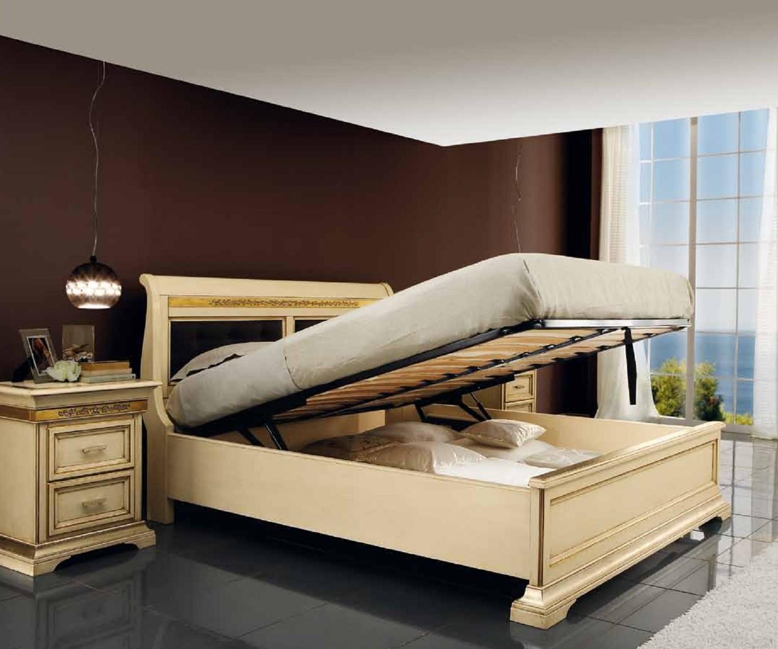 Letto contenitore in legno massello intarsiato mobili ieva torino - Letto contenitore torino ...